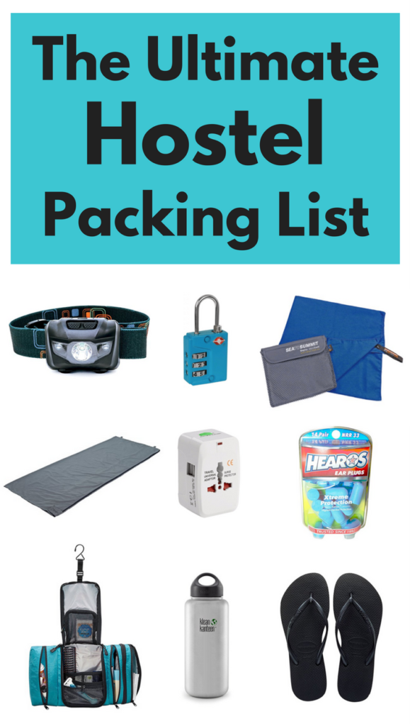 Hostel packing list with all the essential things to bring to a hostel.