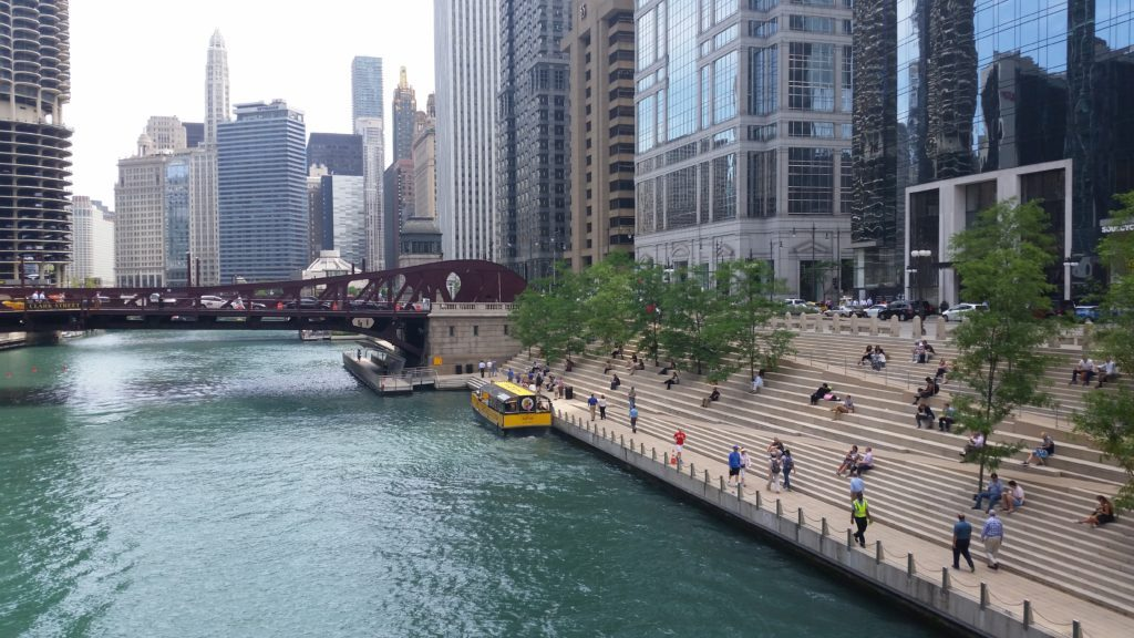 The Chicago Riverwalk is a famous attraction