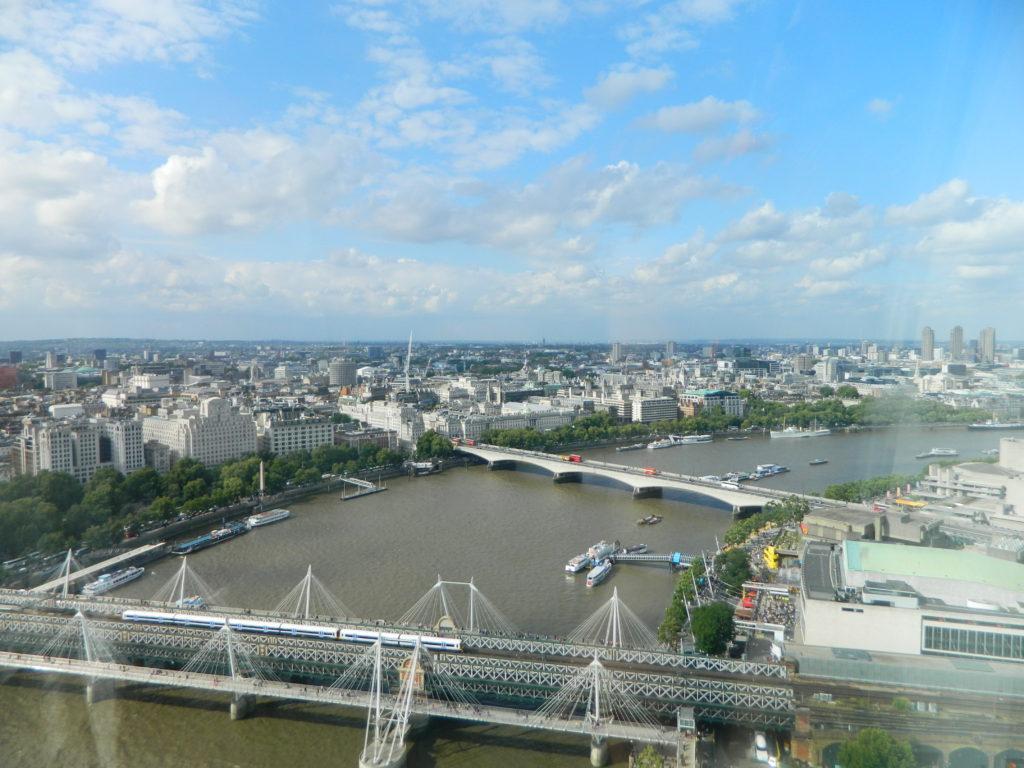 view from London eye London travel blog