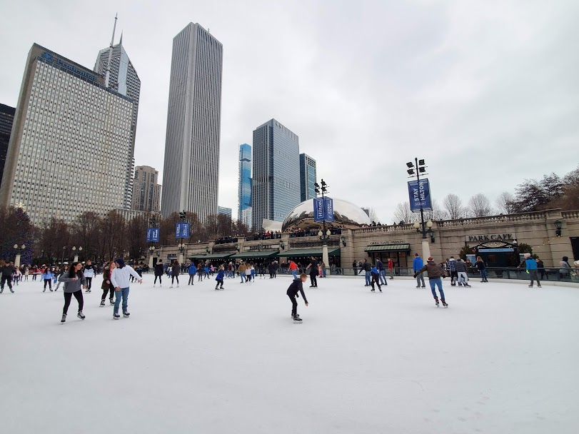 ice skating in Millenium Park is a fun thing to do in Chicago during Christmas
