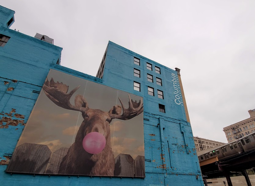 Moose Bubblegum Bubble by Jacob Watts one of the most famous street art murals in Chicago