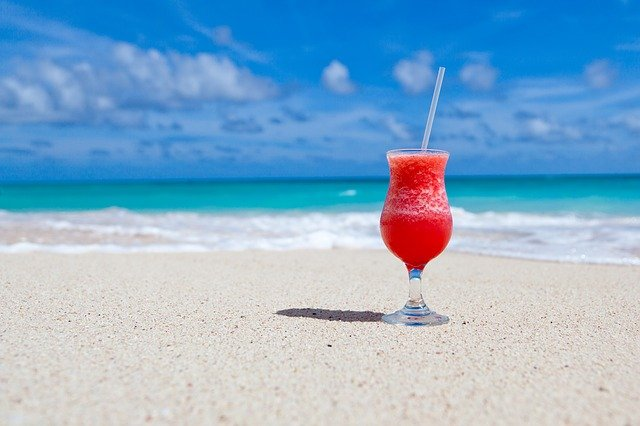a drink on a beach vacation