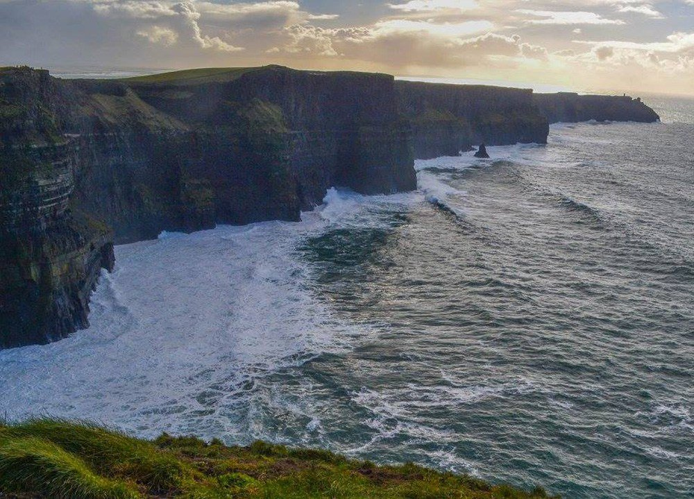 view of Cliffs of Moher from Wild Atlantic Way Ireland Road Trip