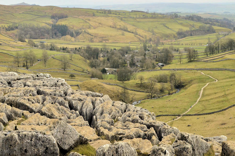 view from view from the top of Malham cove onYorkshire UK road trip